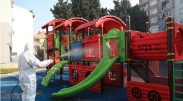 Pamukkale Belediyesi Parkları Dezenfekte Ediyor